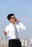 Business man talking on smart phone Royalty Free Stock Image