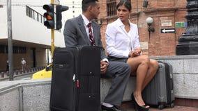 business man talking woman απόθεμα βίντεο