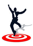 Business man on target. Business man jump on target success stock illustration