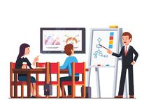 Business man teacher giving lecture to employees vector illustration