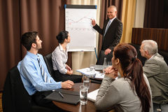 Business man at team meeting point flip-chart. Executive businessman giving presentation on flip-chart to team formalwear royalty free stock images