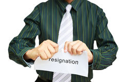 A business man tearing a resignation letter Royalty Free Stock Photo
