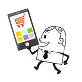 Business man and  telecom. Online business,technology and marketing,cartoon character of businessman Stock Images