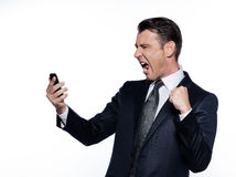 Business man on the telephone screaming happy. Caucasian handsome man portrait isolated studio on white background Stock Images