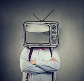 Business man with television instead of his head royalty free stock photography