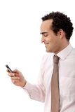 Business man texting Stock Images