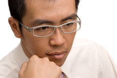 Business man think. Business man of Asia think on white background royalty free stock image