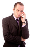 Business man thinking. Deeply over white Stock Image