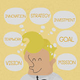 Business man thinking business plan to success royalty free illustration