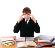 Business man with is thinking with hard work Royalty Free Stock Photo