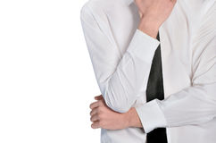Business man thinking position closeup Stock Photos