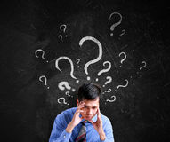 Business man thinking with question sign Stock Photography