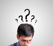Business man thinking with question sign Stock Images