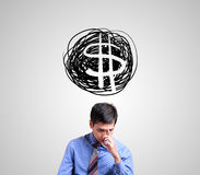 Business man thinking about world finance. Use for layout, design, & background Stock Photos