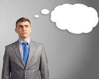 Business man thought cloud over his head. Businessman, head over to the cloud of thoughts, place for text Stock Images