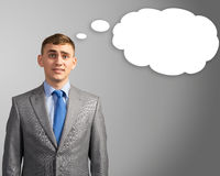 Business man thought cloud over his head. Businessman, head over to the cloud of thoughts, place for text Stock Photos