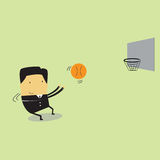 Business man. Throwing a basketball Royalty Free Stock Photo