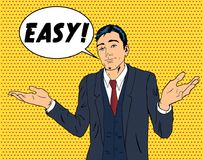 Business man throwing hands. Smiling and saying Easy. Pop art style illustration vector illustration