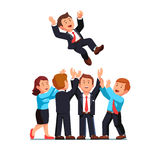 Business man throwing up boss celebrating success Stock Images