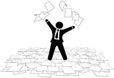 Business man throws paper work pages to air floor. A business man throws office paper work pages into air and on floor Stock Photo
