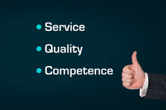 Business man, thumbs ub, Service, Quality, Competence Stock Photos