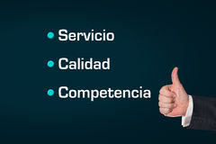 Business man, thumbs ub, Service, Quality, Competence Stock Images