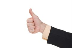 Business man with thumbs up. Isolated over a white background royalty free stock photos