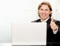 Business man with thumbs up Stock Image