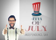 Business man with thumbs up against illustration for the 4th of july. Digital composite of Business man with thumbs up against illustration for the 4th of july stock photos