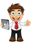 Business Man - Thumbs Up With Tablet. Vector Illustration of a Business man character with a tablet Stock Photography