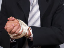 Business man tied hands Royalty Free Stock Image