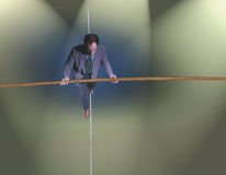 Business man on tightrope Royalty Free Stock Photography