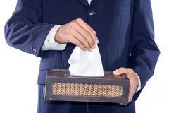 Business man with tissue Royalty Free Stock Photography