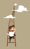 Business man to climb the stairs up to a higher position. Vector Stock Photo
