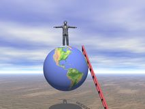 Business Man of top of the World. 3D rendering of businessman on top of the world after climbing ladder of success stock illustration