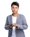 Business man touch mobile Stock Photography