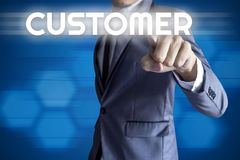Business man touch modern interface for Customer concept Royalty Free Stock Images