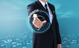 Business man touch rotate compass direction Stock Photos