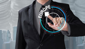 Business man touch rotate compass investment in europe Stock Images