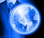 Business man touch world map and connection Royalty Free Stock Images