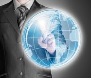 Business man touch world map and connection Stock Photo