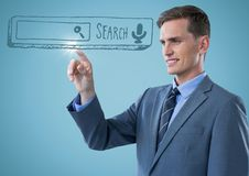 Business man touching blue search bar with flare against blue background. Digital composite of Business man touching blue search bar with flare against blue Royalty Free Stock Image