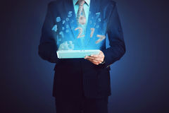 Business man, touching computer tablet with 2017 number Royalty Free Stock Images