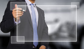 Business man touching display Royalty Free Stock Photo