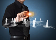 Business Man Touching Icon Of Social Network Royalty Free Stock Image