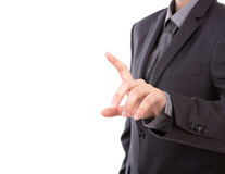 Business man touching an imaginary screen Stock Image