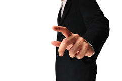 Business man touching an imaginary screen Stock Images