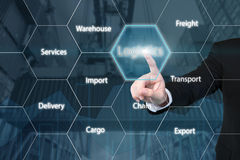 Business man touching the logistics icon. Business technology concept - Business man touching the logistics icon with business success virtual screen use for stock image