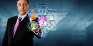 Business Man Touching Managed Service Icons royalty free stock photos