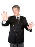 Business man touching the screen Royalty Free Stock Photos